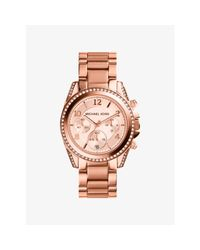 Michael Kors | Pink Blair Rose Gold-tone Stainless Steel Chronograph Watch | Lyst