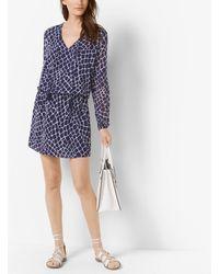 Michael Kors Blue Crocodile-print Tassel Chiffon Dress