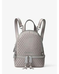 Michael Kors - Gray Rhea Mini Perforated Leather Backpack - Lyst