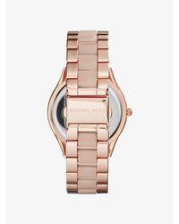 Michael Kors Pink Slim Runway Rose Gold-tone Acrylic Watch