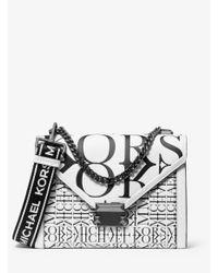 Michael Kors White Whitney Large Newsprint Logo Leather Convertible Shoulder Bag