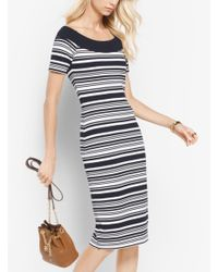 Michael Kors Blue Striped Knit Dress