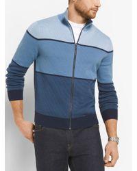 Michael Kors Blue Color-block Cotton Mock-neck Sweater for men