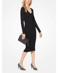 Vestido De Punto Acanalado Michael Kors de color Black