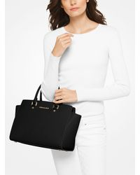 Michael Kors - Black Selma Large Saffiano Leather Satchel - Lyst