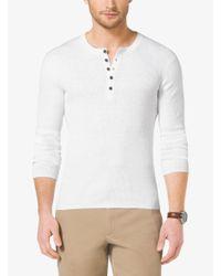 Michael Kors White Linen And Cotton Henley for men