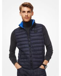 4ee1c40ca7e3 Lyst - Michael Kors Quilted Nylon Packable Down Vest in Blue for Men