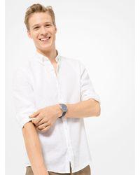 Camicia Slim-Fit In Lino di Michael Kors in White da Uomo