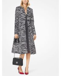 Michael Kors Black Zebra Wool Jacquard Princess Coat