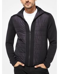 Michael Kors Black Quilted Zip-front Sweater for men