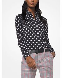 Michael Kors Black Coin Dot Crushed Georgette Blouse