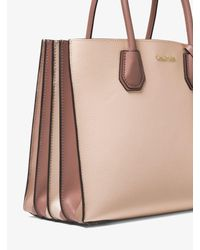 Michael Kors Pink Mercer Large Pebbled Leather Accordion Tote Bag