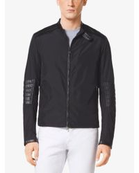 Michael Kors Black Quilted Leather And Nylon Jacket for men