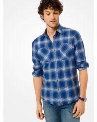 Michael Kors Blue Slim-fit Plaid Cotton Shirt for men