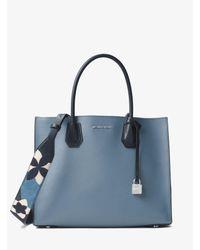 Michael Kors Blue Floral Patchwork Leather Shoulder Strap