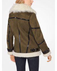 Michael Kors - Green Faux-shearling Jacket - Lyst
