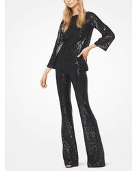 Michael Kors Black Sequined Stretch-tulle Flared Pants