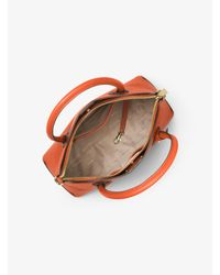 Michael Kors Orange Mercer Large Leather Dome Satchel