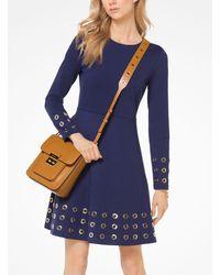 Michael Kors Blue Grommeted Ponte Dress