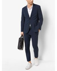 Michael Kors Blue Seersucker Cotton-blend Blazer for men