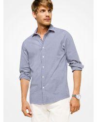 729d6e47da3 Lyst - Michael Kors Slim-fit Gingham Stretch-cotton Shirt in Blue ...