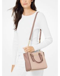 Michael Kors Natural Alessa Small Color-block Pebbled Leather Satchel