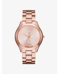 Michael Kors Metallic Slim Runway Scatter Logo Rose Gold-tone Watch