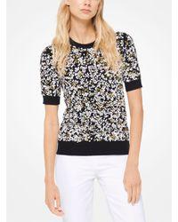 Michael Kors Black Floral-embroidered Cashmere Pullover