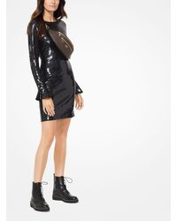 MICHAEL Michael Kors Black Sequined Bell-cuff Dress