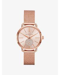 Portia Mesh Rose Gold-Tone Watch Michael Kors en coloris Pink