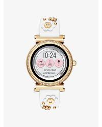 Cinturino In Pelle Con Applicazioni Floreali Per Smartwatch Sofie di Michael Kors in White