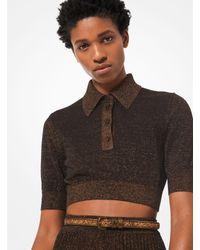 Polo court en tricot métallisé Michael Kors en coloris Black