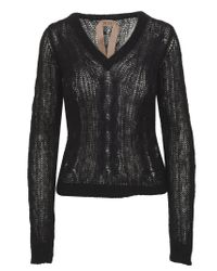N°21 V-neck Black Mohair And Wool-blend Sweater With Ribbed Outlines