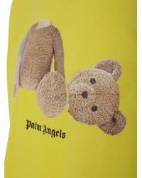T-shirt oversize Bear in cotone giallo con orsacchiotto e logo stampati sul fronte. di Palm Angels in Yellow da Uomo