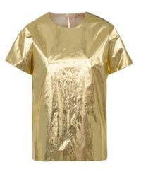 N°21 Multicolor Regular Fit Golden Blouse With Short Sleeves And Crewneck Closed By Button.