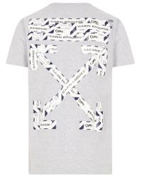 Off-White c/o Virgil Abloh Gray Airport Tape Slim Fit T-shirt In Grey Cotton With Arrows Printed On The Back. for men