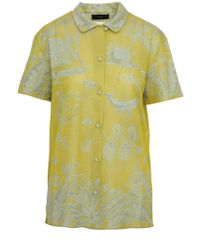 Camicia gialla jacquard in misto seta con ricami ispirati alle Hawaii di Alanui in Yellow
