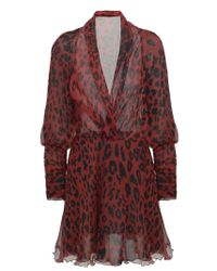 Redemption Red Leopard Silk Dress With Flared Lined Skirt And Deep V-neckline.