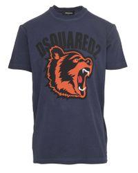 T-shirt slim fit in jersey di cotone blu con stampa Big Bear colorata e logo nero. di DSquared² in Blue da Uomo
