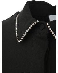 Camicia nera in viscosa vestibilità morbida con cristalli applicati sul colletto di MSGM in Black