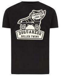 T-shirt nera a maniche corte Roller Twins in cotone con stampa bianca sul fronte di DSquared² in Black da Uomo