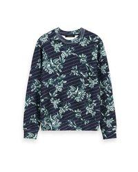 Scotch & Soda Crewneck Sweat With Toile-de-jouy Sweaters Blauw in het Green voor heren