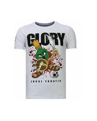 Local Fanatic Glory Martial - Rhinestone T-shirt in het White voor heren
