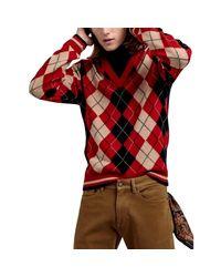 D1. Argyle V-Col Gant pour homme en coloris Red