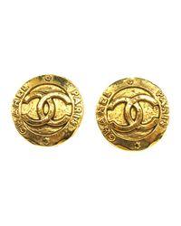 Chanel Vintage Cc Clip-on Earrings in het Yellow