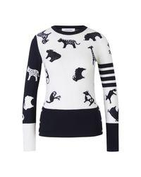 Thom Browne Merino Wool Sweater in het White