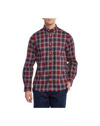 Gant D1.melange Herringbon Geruit Overhemd in het Red voor heren