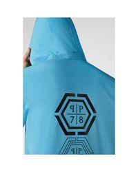 Veste zippée à capuche dos printe Azul Philipp Plein de hombre de color Blue