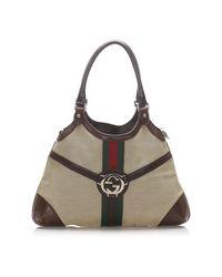Gucci Web Reins Canvas Shoulder Bag in het Brown