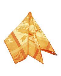 Hermès Shadows Games Zijden Sjaal Silk Fabric Frankrijk in het Orange